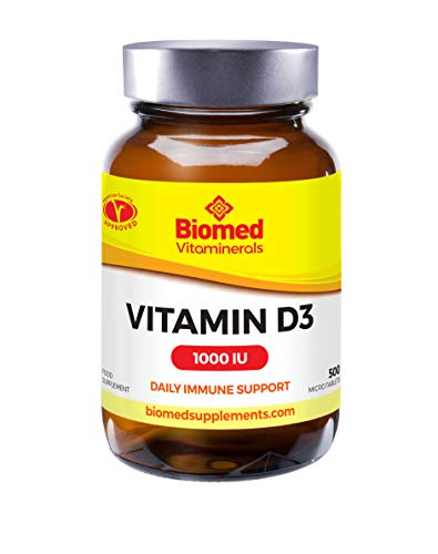 Biomed Vitamin D 1000iu | 500 Premium Vitamin D3 Easy-Swallow Micro Tablets | One a Day High Strength Cholecalciferol VIT D3 | Vegetarian Supplement | Made in The UK