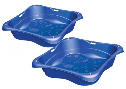 BURI Sandkasten 2er-Set Planschbecken Buddelkasten Pool Sandbox Sandkiste Kunststoff, Farbe:blau