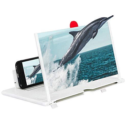 KKmoon versterker met 3D-effect, groot scherm met bureau-onderlegger en telefoondisplay door te trekken van de telefoon, inklapbaar voor games en bioscoop. Wit