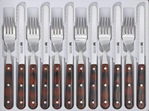 Goodwell Besteck in vielen Farben, Messer und Gabel Set (12 Teilig) im Etui mit Wellenschliff (Mahagoni)