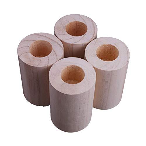 4 Packungen Betterhöhungen, Holz, runde Möbelheber, Innenmaße: 6,5 cm x 6,5 cm, Rille zur Erhöhung von Bettanhebungen – zum Anheben von Sofa-Beinen (Größe D