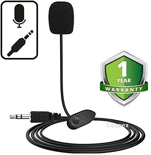 Cospex [Offer: Festive Sale] Lapel Lavalier Mic 3.5mm Clip Microphone for Recording On Mobiles/Computer/Laptop/Desktop/PC/Loudspeakers (Black)