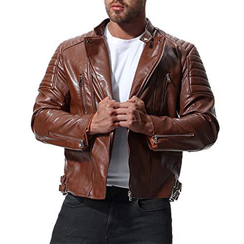 MISSMAOM Chauqeta de Cuero Hombre Biker Chaqueta Abrigo Moto Punk Chaqueta Marrón L