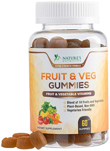 Fruit and Vegetable Gummies for Adults Extra Strength Daily Multivitamin Gummy - Premium Fruits & Veggies Blend, Best Vegan Pectin Gummy for Men & Women - 60 Gummies