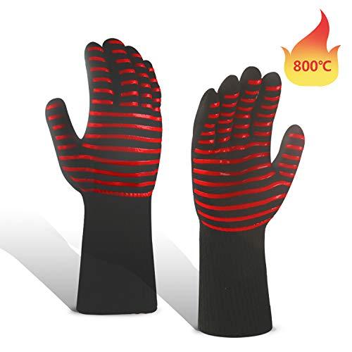 Grillhandschuhe Hitzebeständig 800 Grad Verlängern Ofenhandschuhe silikon der Anzug Universalgröße für BBQ, Backen, Kochen 1 Paar- 35cm