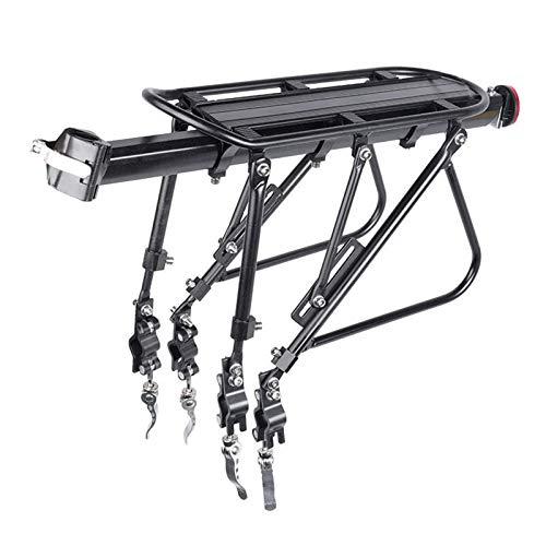 Estante trasero para bicicleta para bicicleta con soporte para bolsa de sillín con luz reflectora de carga máxima de 100 kg