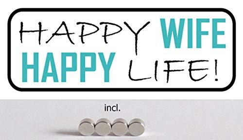 Blechschild 27x10cm gewölbt incl. 4 Magneten Happy Wife Happy Life Deko Geschenk Schild