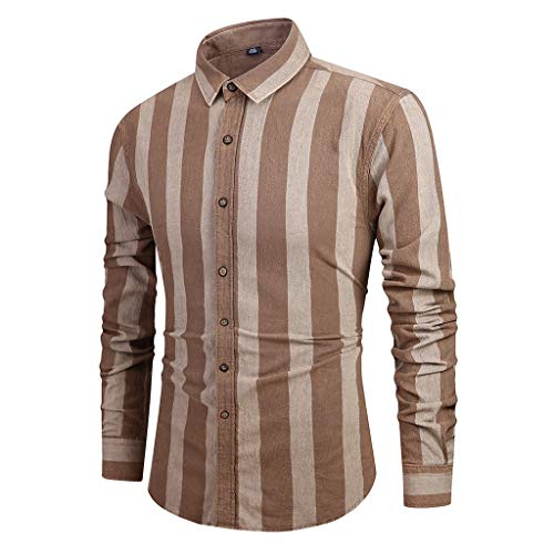 Slim Fit Shirts for Men Long Sleeve Vertical Stripe Button Down Casual Business Dress Shirts Brown