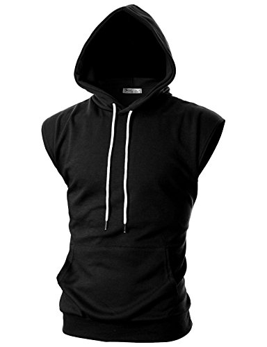 Ohoo Mens Slim Fit Sleeveless Lightweight Workout Athletic Muscle Tank Tops With Hoodie /DCF014-BLACK-3XL
