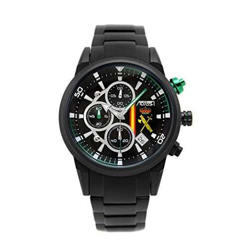 Reloj Aviador Guardia Civil hombre correa acero negro AV-1212-5
