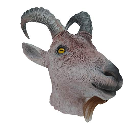 Hengyutoy Mask Ziegenlatex Tier Maske Farmyard Antelope Maske Halloween Kostüm Headwear Party