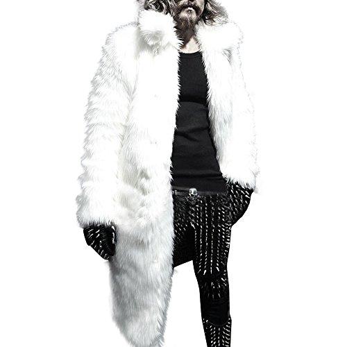 Mens Winter Faux Fur Warm Thicker Long Parka Coat Cardigan (L, White)