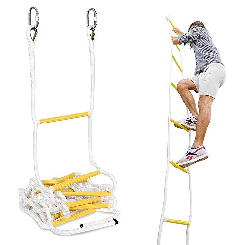 ISOP Fire Escape Ladder 25ft (8m) for Third Story Windows - Flame Resistant Safety Rope Ladder with Hooks - Weight Capacity up to 2000 Pounds