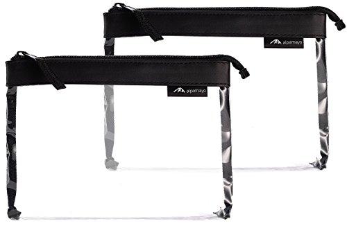 Alpamayo® 2er Set transparenter Kulturbeutel, Kulturtasche für Handgepäck auf der Reise, durchsichtige Kulturtasche mit 1 Liter Volumen zum Transport von Flüssigkeiten im Flugzeug