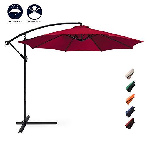 Aoxun 10ft Patio Offset Cantilever Umbrella - Market Umbrellas Outdoor Umbrella with Crank & Cross Base for Garden, Deck,Backyard and Pool (Burgundy)