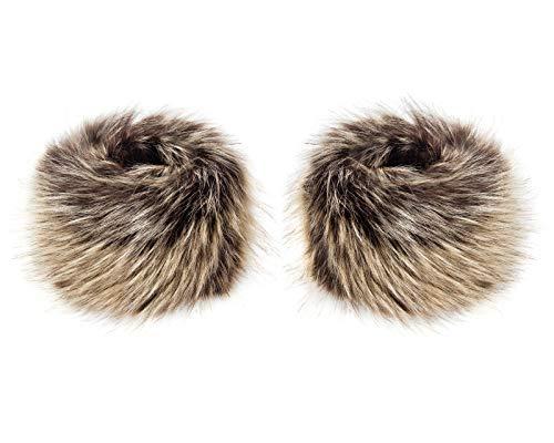 Futrzane Faux Fur Wrist Cuffs For Women - Like Real Fur Wrist Warmers (Hazel Wolf)