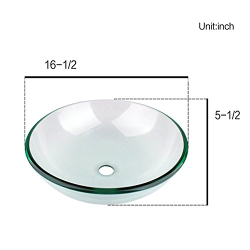 Glass Bathroom Clear Vessel Sink with Faucet,set of 2