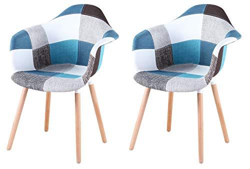 Sillón de comedor con patas de madera maciza, multicolor, para cocina, sala de estar, oficina, vestíbulo, recepción, sala de espera, color azul, gris y negro