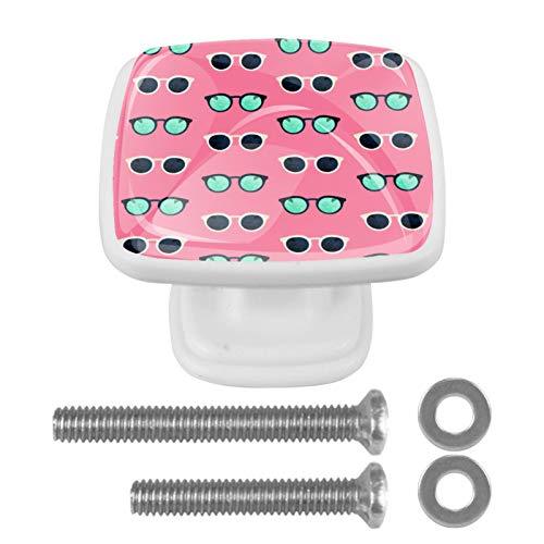 [4 piezas] pomos cuadrados para puertas de armarios de armarios de color vintage, diseño multidiseño, para puertas de armarios, tiradores de cajones y gafas de verano rosa
