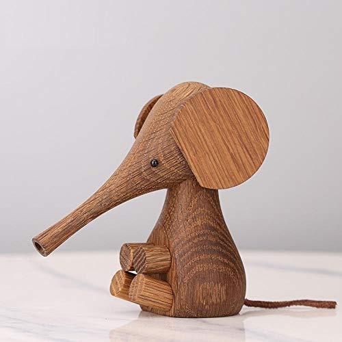 JYJYJY Escultura Adornos Cabeza De Estatua Elefante De Madera Hecho A Mano Accesorios De Decoración del Hogar Adornos Decoración Light_Green_As_Shown