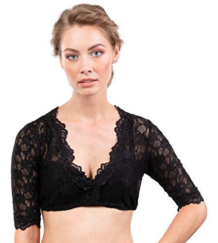 Schöneberger Trachten Couture Elegante & Exklusive Dirndlbluse aus Spitze schwarz/transparent - Dirndl Bluse Windrose (38, schwarz)