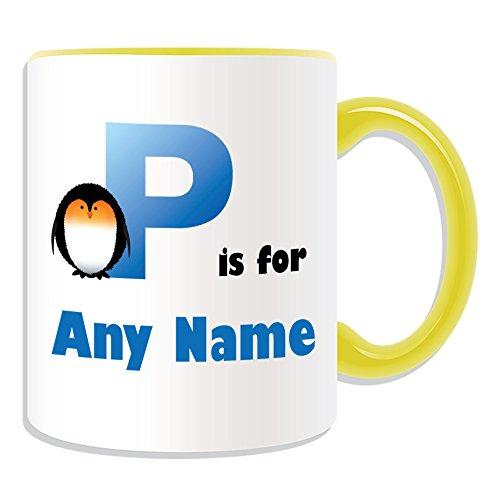 Regalo Personalizado - Letra P para Taza Diseño (Alfabeto Tema, Color) - Cualquier Nombre/Mensaje en su Único - A B C D E F G H I J K L M N O P Q R S T U V W x Y Z Inicial en Símbolo fonético Papa Pingún, cerámica, amarillo