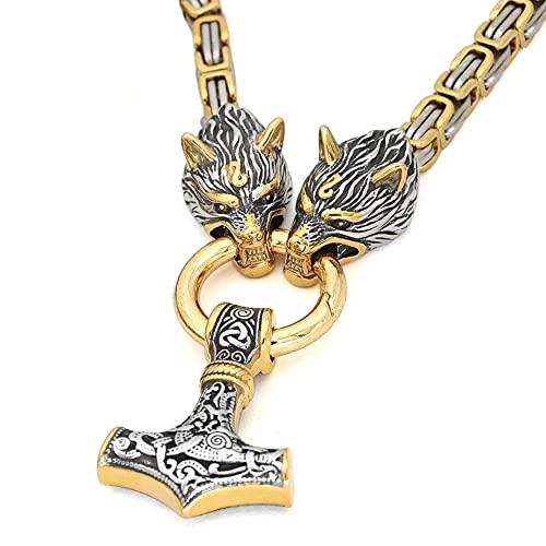 Hombres Viking Dual Color Thor's Hammer Mjolnir Colgante Wolf Head Kings Chain, Collar de Cadena Bizantino de Acero Inoxidable Hecho A Mano, Joyería Vintage Nórdica de la Edad Media (Size : 70CM)