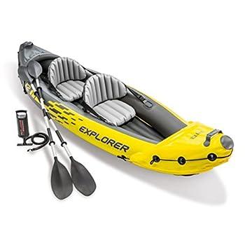 Intex Explorer K2 Kayak 2-Person Inflatable Kayak Set with Aluminum Oars and High Output Air Pump
