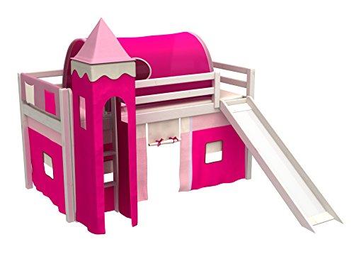 Spielbett,hochbett,kinder bett mit rutsche,turm,tunel,vorhange.matratze,weiß
