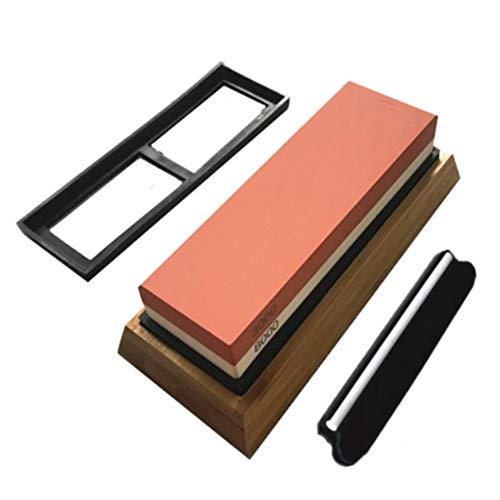 DORALO Whetstone mes slijpen steen, dubbelzijdig water-steen 3000/8000 korrel met niet-slip bamboe basis en hoek gids, polijsten slijpen voor keukenmessen, snijden, Tuingereedschap