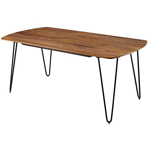 Wohnling KELA Table de Salle à Manger en Bois de sheesham Massif avec Pieds en métal en Bois Massif Marron 200 x 100 x 76 cm