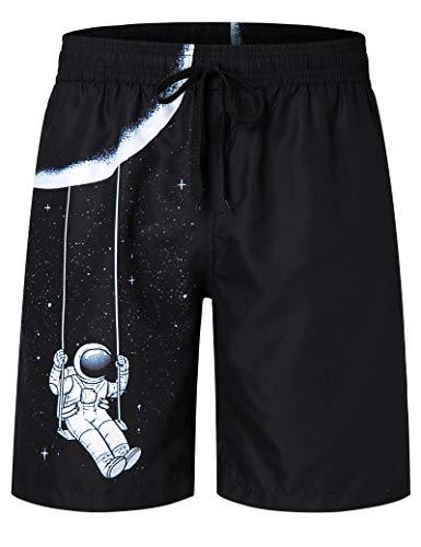 AIDEAONE Pantalones de Baño de Playa para Hombre Hawaii Pantalones Cortos Casuales de Longitud Media con Bolsillos (M)