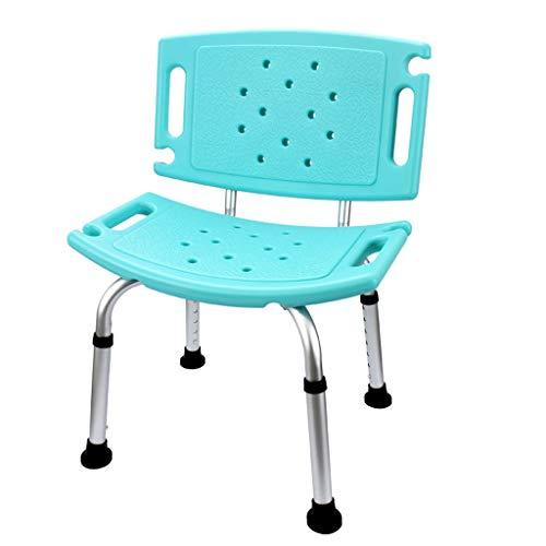 ZI LING SHOP Anti-slip luxe bank en douchekast, verstelbare badstoel, afneembare badkamerkruk terug (blauw)