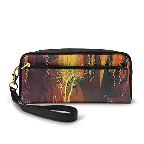 Pencil Case Pen Bag Pouch Stationary,Enchanted World Imaginary Forest with Lights Image Scenery Print,Small Makeup Bag Coin Purse