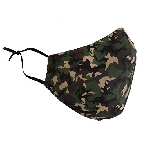 Stay Safe Reusable Face Mask Protection Washable Mouth & Nose Shield Breathable Anti Smoke Pollution Bike Motorcycle Sport (Green Camo)