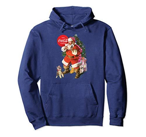 Coca-Cola Christmas Santa Claus Puppy Pullover Hoodie