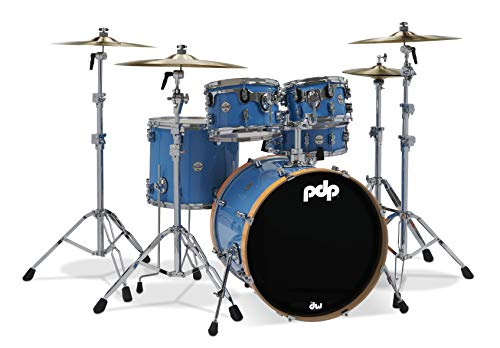 PDP By DW Limited Edition Series Drum Shell Pack, blau mit orangefarbenen Reifen, 5-teilig (PDLT2215BO)