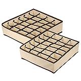 Wishstar Organizador Cajones Calcetines, 2 Paquetes Caja de Almacenamiento Plegable, 24 Celdas Organizador Ropa para Almacenar Calcetines/Bragas/Bufandas/Cinturones - Beige
