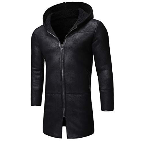 Feytuo Mantel Lang Herren Winter Angebote Mantel Warmer PU Lederjacke mit großem Kragen Reißverschluss Outdoor Mantel Sale Mode Elegant
