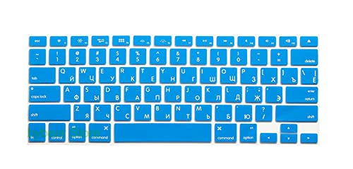 US EU Euro RU Russian Letter Keyboard Cover For Macbook Air Pro Retina 13 15 Laptop Russia Protector skin For iMac 13.3 15.4-USlakeblue