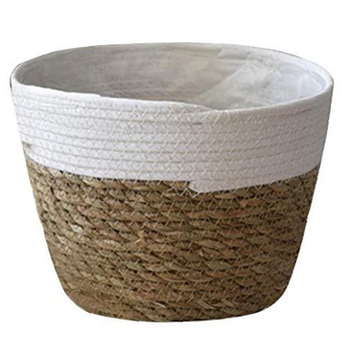 TOPofly Seagrass Cesta Tejida Cesta del almacenaje de la Cesta Tiesto Tiesto Recipiente de lavandería Cesta Tejida de lavandería Pot para jardín L