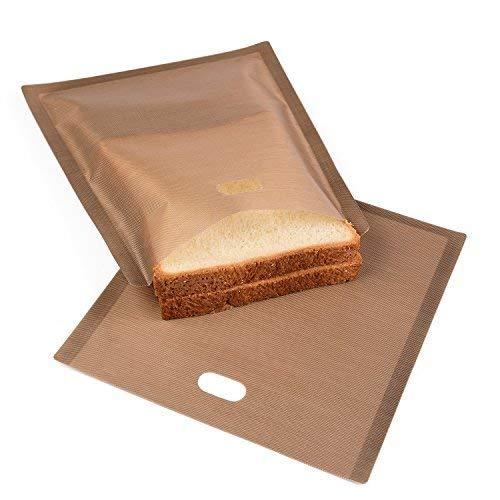 Bolsas para tostadora (paquete de 6) | Perfecto para un sándwich de queso a la parrilla o una tostada | Dieta sin gluten | Antiadherente, fácil de usar en el horno tostador y en el microondas