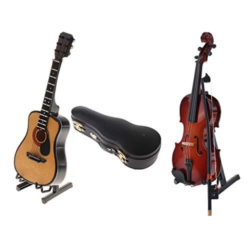 SM SunniMix 1/6 Instrumento Musical de Madera Violín Modelo de Guitarra en Miniatura para de Acción Accesorios de Casa de Muñecas / con Caja de Soporte
