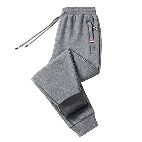 Otoño e invierno más pantalones de chándal de algodón grueso de terciopelo pantalones de chándal para hombre pantalones casuales sueltos para hombre bolsillos rectos con cremallera de gran tamaño