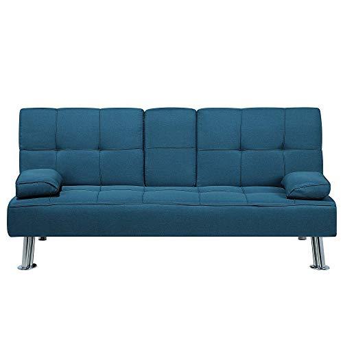 Beliani Sofá Cama 3 plazas tapizado Azul ROXEN