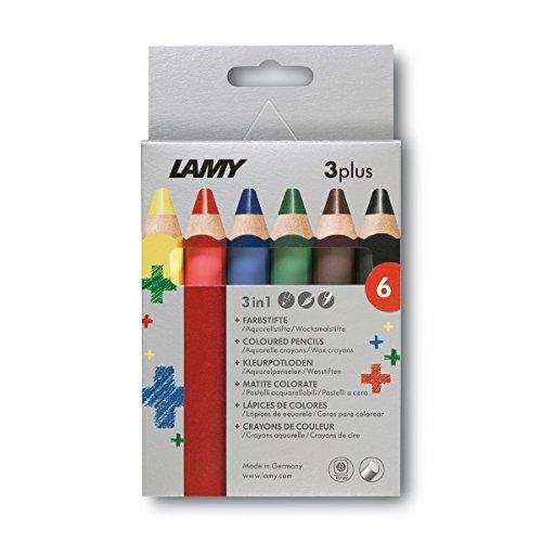 Lamy 1222002 Farbstift Set in Faltschachtel, 3-Plus Modell 520, 6-er Packung, mehrfarbig