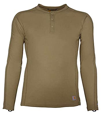 Carhartt Men's Force Midweight Classic Henley Thermal Base Layer Long Sleeve Shirt, Burnt Olive, Medium