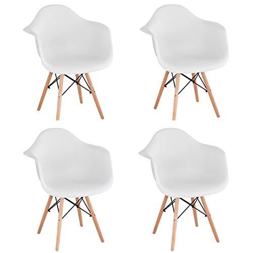 GroBKau 4er-Set Esszimmerstuhl Skandinavische Sessel Seitenstuhl Retro Design Buche Holz Beine Weiß