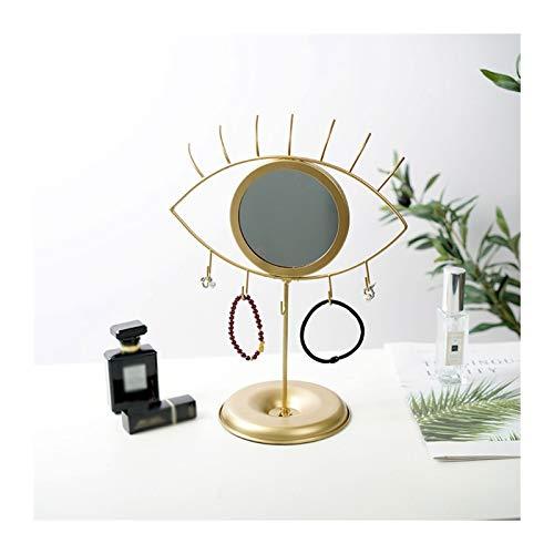 Caja de joyería Soporte de joyería con espejo con forma de ocular Vanity Hogar de la joyería de metal Pantalla Pendiente Pendiente Soporte Collar de oro Pulsera Soporte para mujer Regalo de niñas Joye