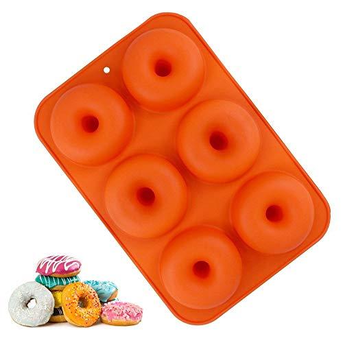 Donut Backblech, 6 Grids Silikon Backform Verwendung für die Herstellung Donut Kuchen Keks Bagels Muffins Schokolade (6 Grids)